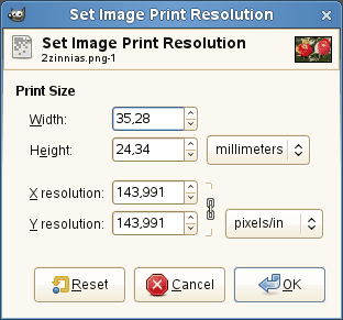 Диалог масштабирования изображения для печати