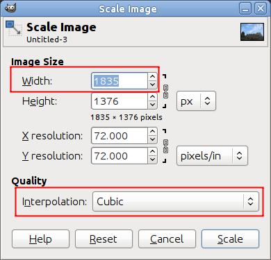 Диалог масштабирования изображения в точках