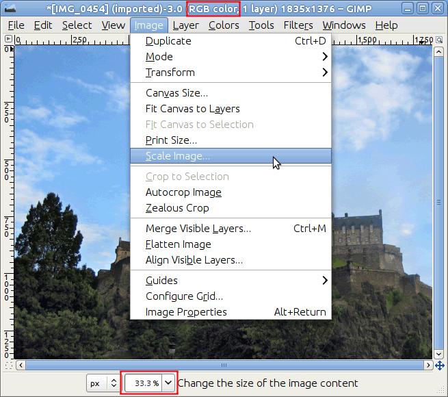 Применение GIMP для масштабирования изображения
