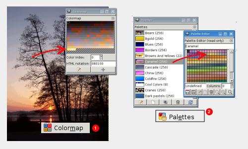 Диалог цветовой карты (1) и палитр (2)